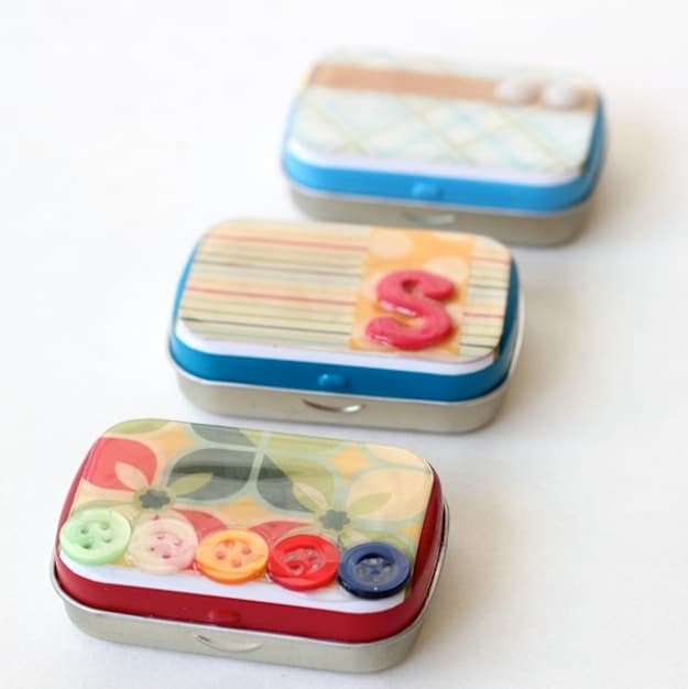 How to decoupage an old Altoids container and turn it into storage!