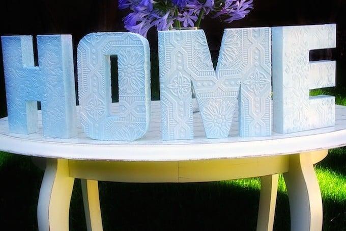 DIY anaglypta Mod Podge letters