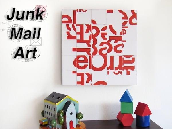 Junk mail craft - DIY canvas art