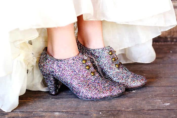 DIY glittered boots with Mod Podge