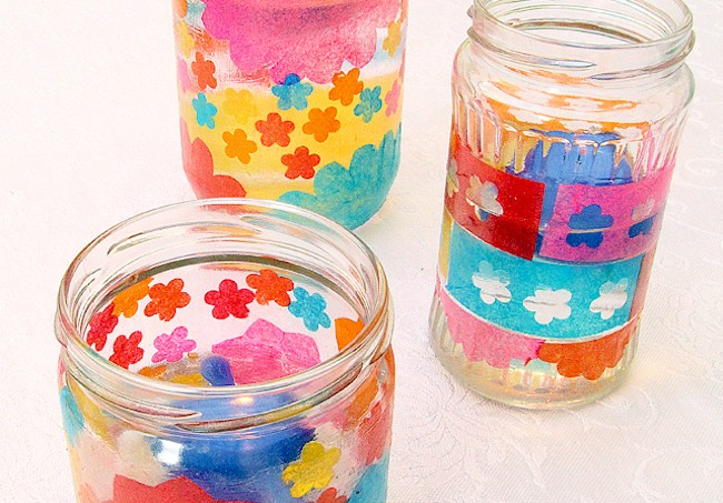 Recycled jar candle holders