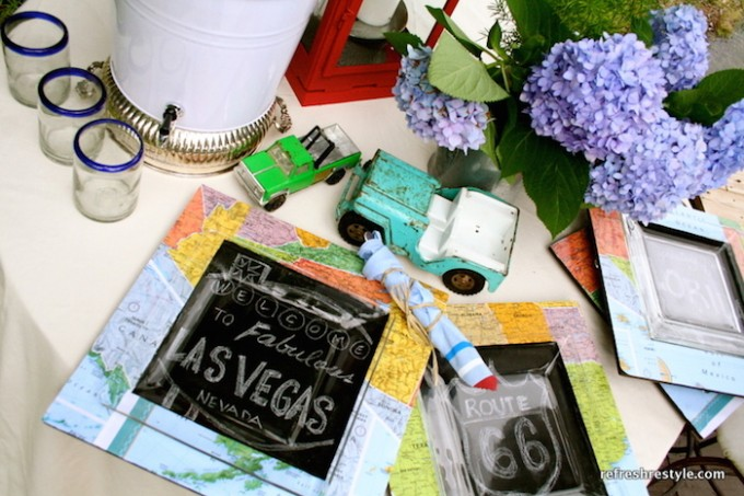 DIY chalkboard chargers with maps and Mod Podge