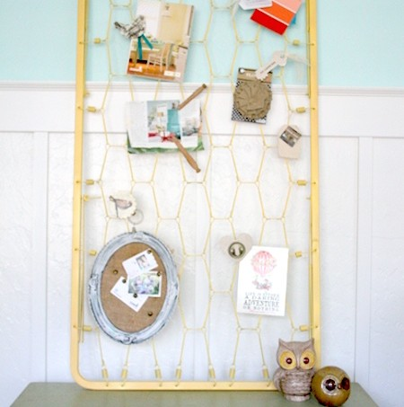 How to make a bulletin board from a crib mattress