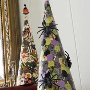 Add some spooky spider paper cones to your DIY Halloween decor! These are so easy, both children and adults will enjoy making them. This is one of those ideas that can adapted to be scary ore even vintage chic Halloween. Uses Mod Podge.