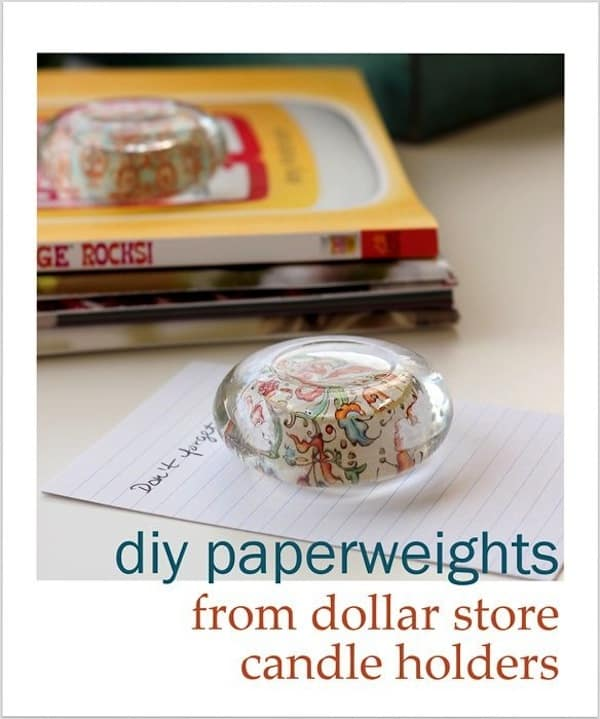 DIY paperweights from glass candle holders