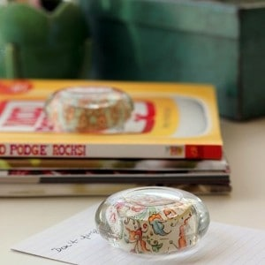 DIY paperweights from glass candle holde...