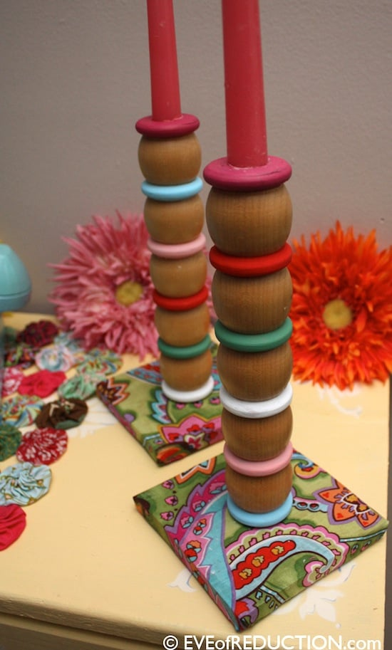 Cheery Mod Podge candlestick holders