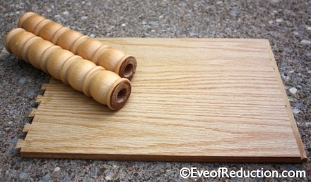 crib spindles and a scrap piece of plywood