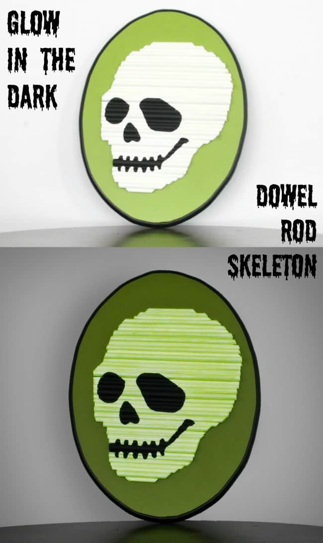 Glow in the dark dowel rod skeleton Halloween decor
