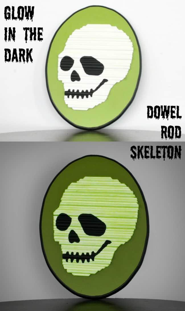Glow in the dark dowel rod skeleton Halloween decor