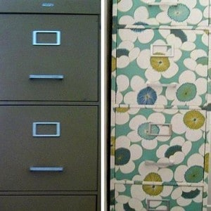 Wrapping paper decoupage file cabinet