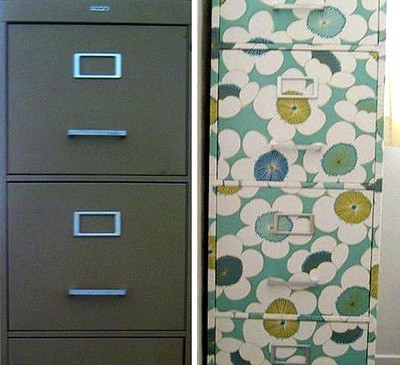 Re-do a filing cabinet with decoupage medium and wrapping paper. Use Hard Coat Mod Podge on your decoupage file cabinet for extra durability!