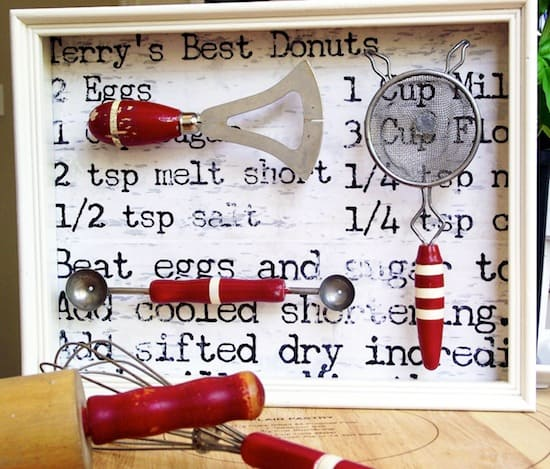 Vintage kitchen tool DIY shadow box