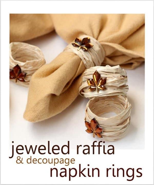 Fall DIY napkin rings using raffia