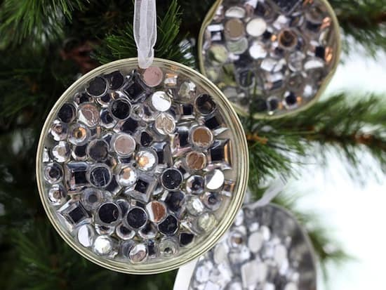 Easy and budget friendly - simple rhinestone recycled ornament craft tutorial