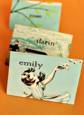 DIY vintage escort card magnets