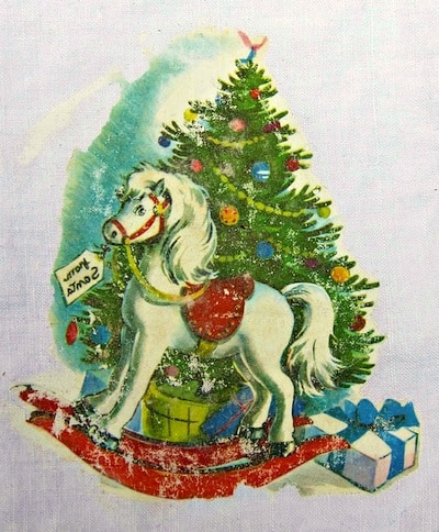 Vintage Christmas graphic transferred to a napkin