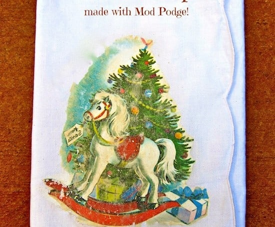 Mod Podge Photo Transfer Christmas napkin using a vintage image - great gift idea!