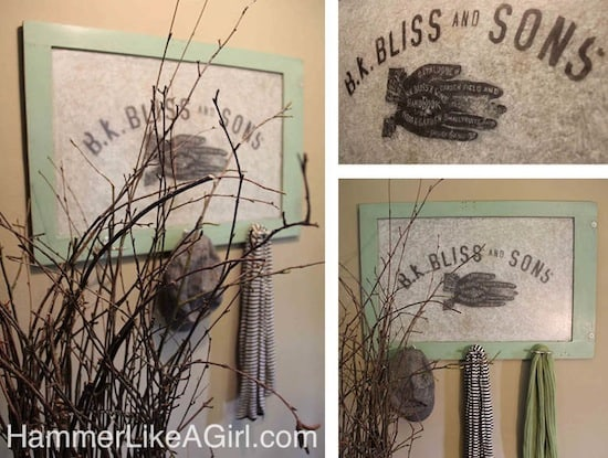 This awesome coat rack started out as a vintage window - but with a little paint and a photo transfer to glass, it got a whole new life!