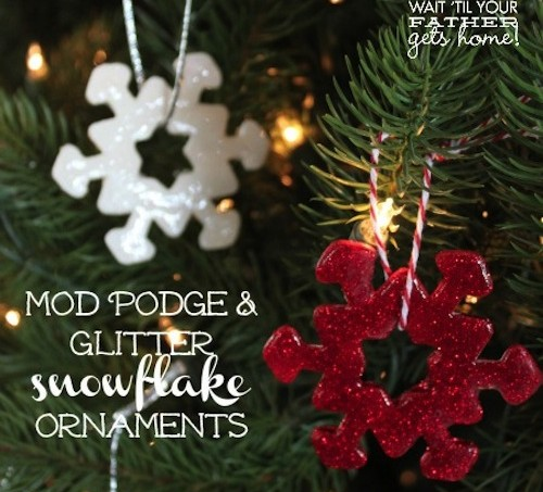 DIY glitter snowflake ornaments with Mod Podge