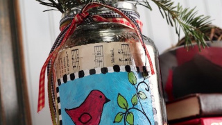 Mason Jar Christmas Vase for Farmhouse Decor
