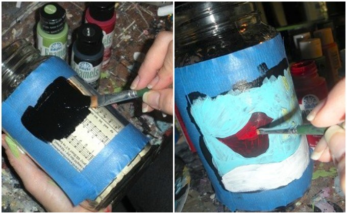 Painting a black background on a mason jar then paint a bird on top