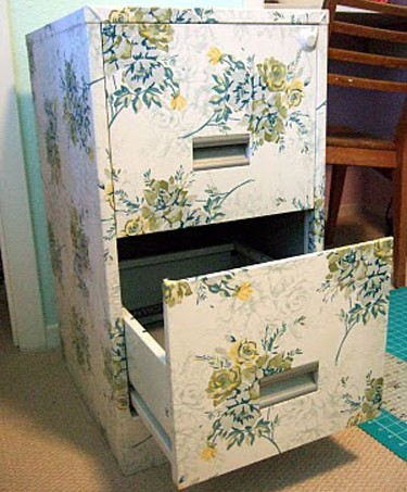 fabric covered filing cabinet