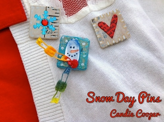Winter craft: easy DIY snow day pins