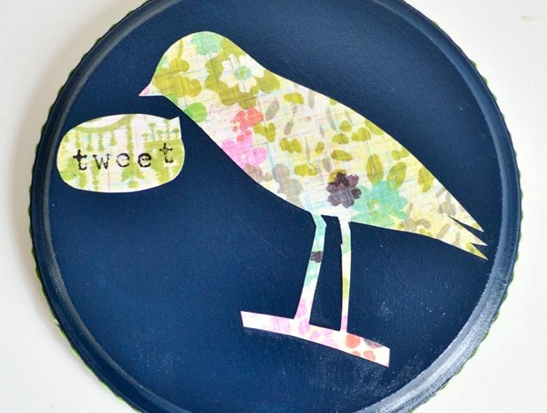 Make a birdie silhouette decoupage plaque