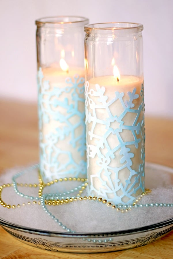 Cute Winter Craft: Snowflake Votives