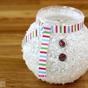 Snowman craft: epsom salt votive