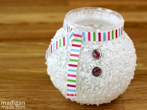 Snowman craft - epsom salt votive