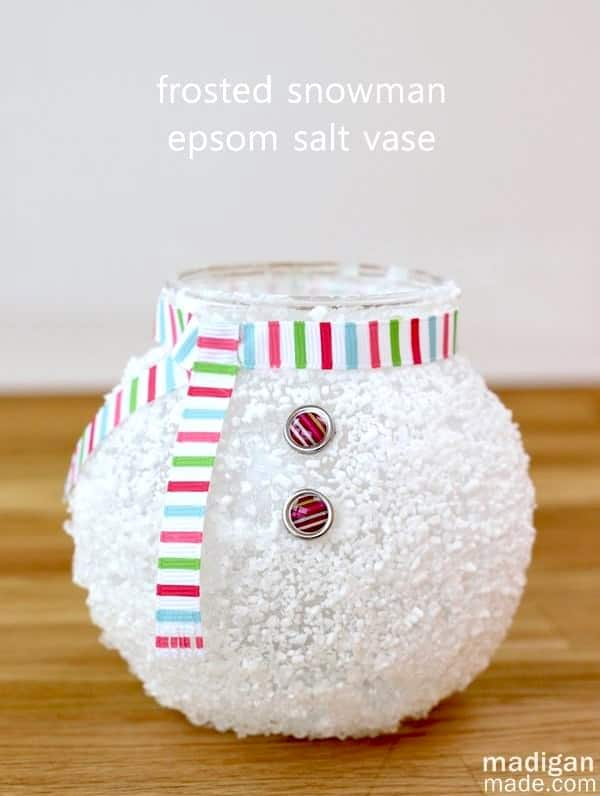 Celebrate winter indoors with some unique snowman crafts - like this cute votive made with epsom salt and Mod Podge! Very easy to make.