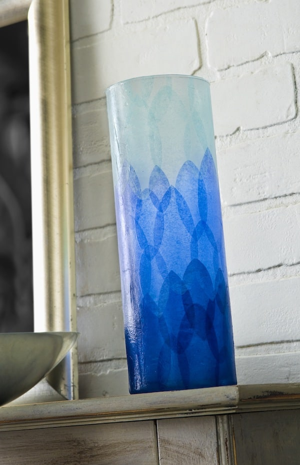 DIY ombre vase made with Mod Podge