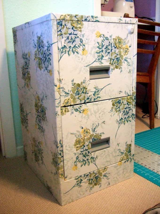 Do you have an old fie cabinet lying around? Give it an update! This decoupage filing cabinet project is so easy - just add Mod Podge and fabric.