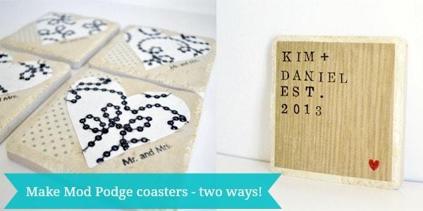 Mod Podge coasters tutorial - two ways