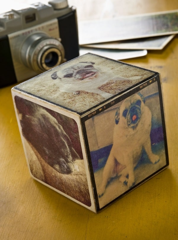 Mod Podge photo transfer Instagram cube