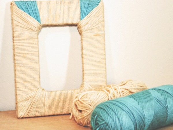 Mod Podge picture frame wrapped with yarn