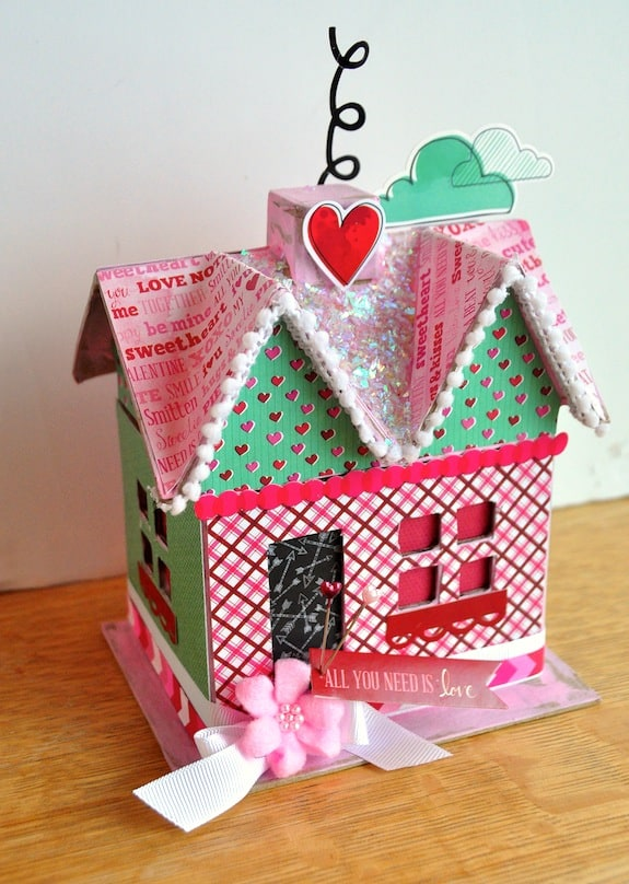 Valentine's Day craft - all you need is love decoupage house