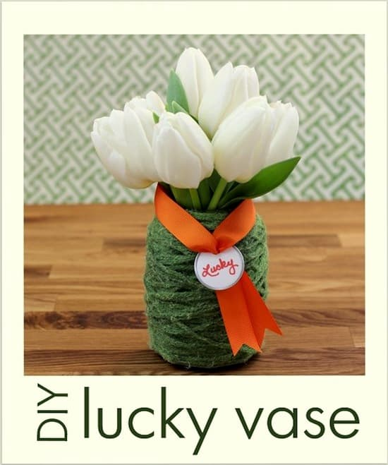 This St. Patrick's Day craft is the easiest thing you'll ever do! Bring a little luck into your home with Mod Podge and green yarn vase.
