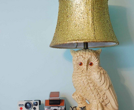 DIY glitter lampshade with Mod Podge