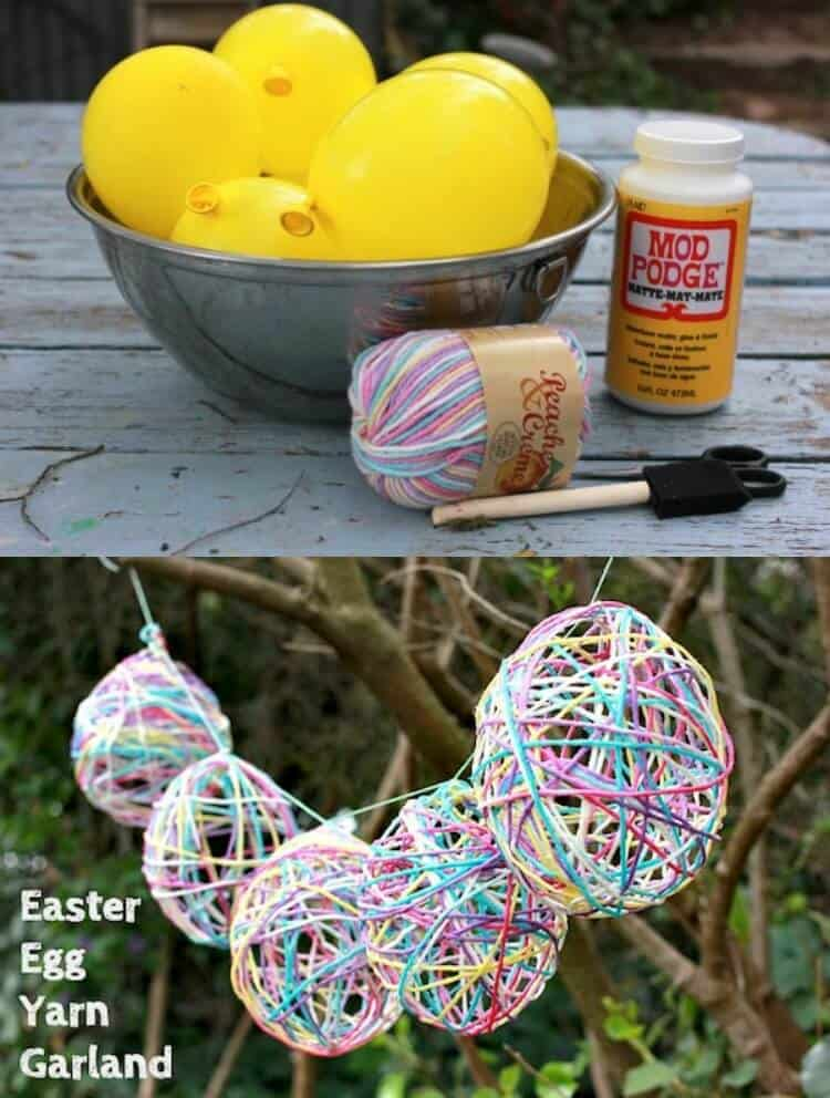 This simple egg garland is the perfect Easter craft! Make it with Mod Podge and your favorite colors of yarn. The kids will love helping too!