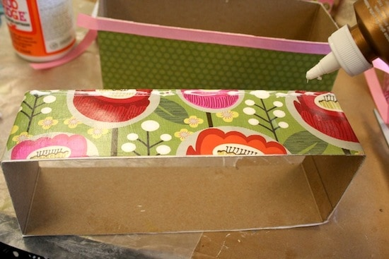 Adding ribbon trim to craft organizer compartments