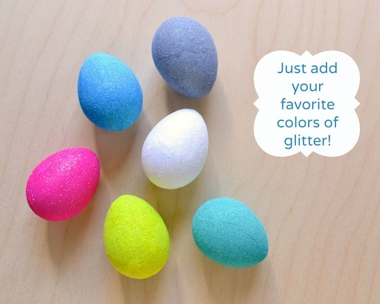 Just add your favorite colors of glitter to make Mod Podge Easter eggs