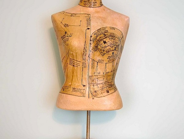 Mod Podge a mannequin with pattern pieces