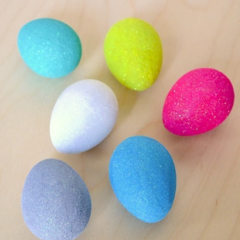 Glitter eggs in white, pink, blue, purple, yellow, and aqua