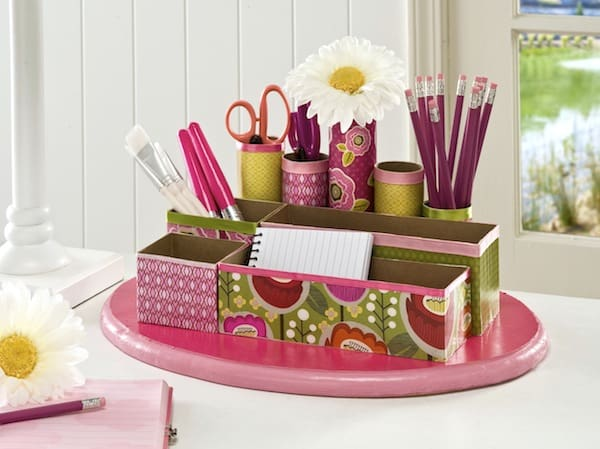 Use Mod Podge, old cereal boxes, and toilet paper rolls to create a DIY unique desk organizer. This recycled craft is perfect if you're on a budget.