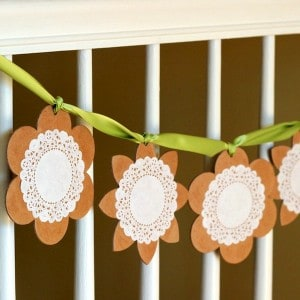 If you're looking for easy spring craft ideas, this simple doily banner is perfect. Make it for a pretty seasonal accent to your decor.