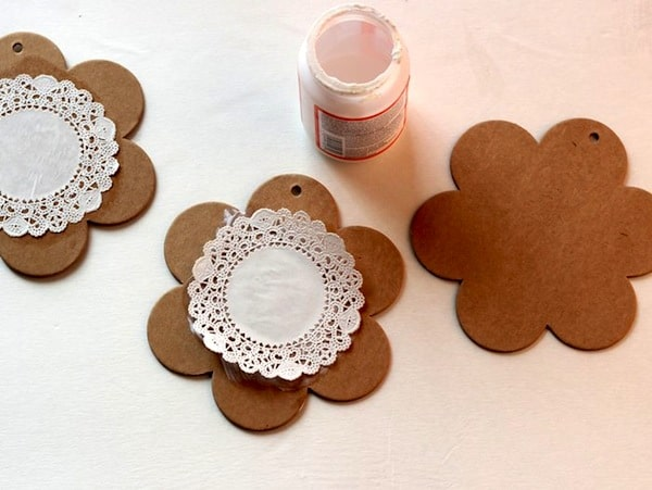 Doily Mod Podged to the top of a chipboard shape