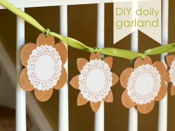 spring craft - diy doily garland
